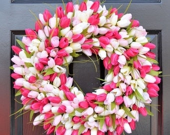 WREATH SALE Pink Tulip Wreath- Spring Wreath- Mother's Day Wreath- Gift for Mom- Mother's Day Gift- Shabby Chic Decor