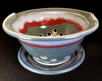 Berry Bowl- Blue Berry Bowl Colander- Berry Colander- Ceramic Berry Bowl- Colander- Strainer- Ceramic Colander- Berry Basket- InStock