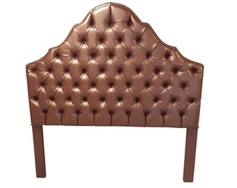 QUEEN Size Upholstered Tufted Headboard Bronze Faux Leather Queen Headboard with Nailheads Brown Tufted Upholstered Headboard with Nailheads