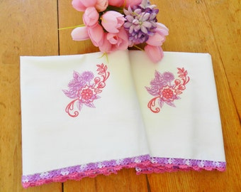 NOS Pink Crochet Trim Embroidered Pillowcases, Lilac Pillowcases, Never Used, Machine Embroidery, Lilac Crochet Trim Pillowcases