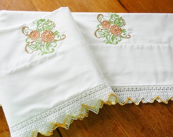 Vintage Pillowcases, Machine Embroidered Pillowcases, Crochet Trim Pillowcases, NOS Pillowcases, Never Used Pillowcases, OOAK Pillowcases
