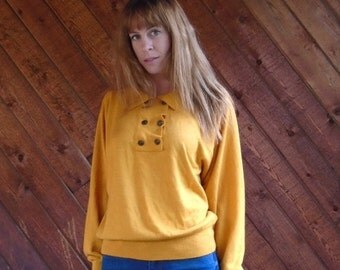 30% Memorial Day Sale ... Gold Knit Slouchy Button Front Pullover Sweater - Vintage 80s 90s - MEDIUM M