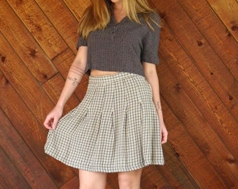 20% OFF mid-season ... Brown Plaid Mini School Girl Skirt - Vintage 90s - S M
