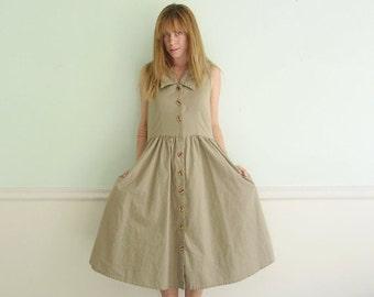 30% off ... Sleeveless Cotton Khaki Safari Shirt Dress - Button Down - SMALL S - Vintage 80s