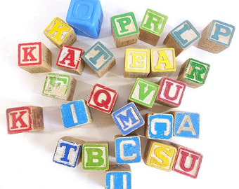 Vintage Toy Blocks for Repurposing Wood and Plastic Letters, Images Numbers Alphabet