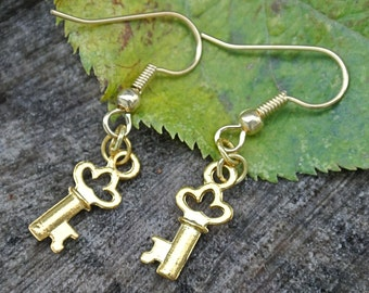 Key Earrings // Gold Key Earrings // Small Earrings // Charm Earrings // Gifts Under 10 //  Key Jewelry // Gifts For Her // Skeleton Key