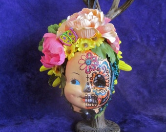 Day of the Dead Ornament HALFWAY THERE: Doll Face Flowers Colorful Hanging Assemblage Hand Painted One Side Sugar Skull  One of a Kind ooak