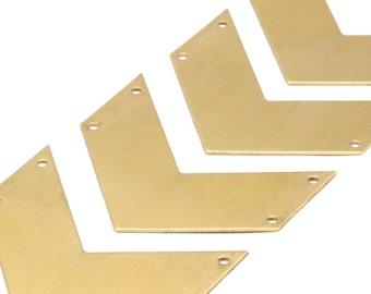 8 Raw Brass Chevrons 4 Holes (40x20x0.80mm) A0826--N604