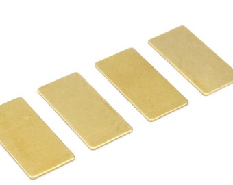 Brass Rectangle Sheet, 12 Raw Brass Rectangle Stamping Blanks, (30x15x0.80mm) A0912