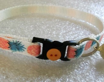 Pineapple Cat or Kitten Breakaway Collar - girl cat, boy cat, Summer, kitten collar