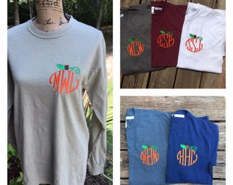 ADULT Monogrammed Pumpkin Shirt.  Long OR short sleeves. Monogrammed Fall, Thanksgiving, Halloween shirt.
