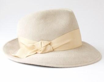 Women's Fedora Hat Women's Hat Spring Fashion Spring Accessories Alabaster Gray Felt Hat Custom Hat Couture Hat Summer Hat Wide Brimmed Hat