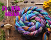 FLOWER CHILD - Custom Blend Merino and Tussah Silk Combed Top Wool Roving for Spinning or Felting -4 oz