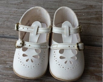 White  T Strap Mary Jane Baby Shoes size 2