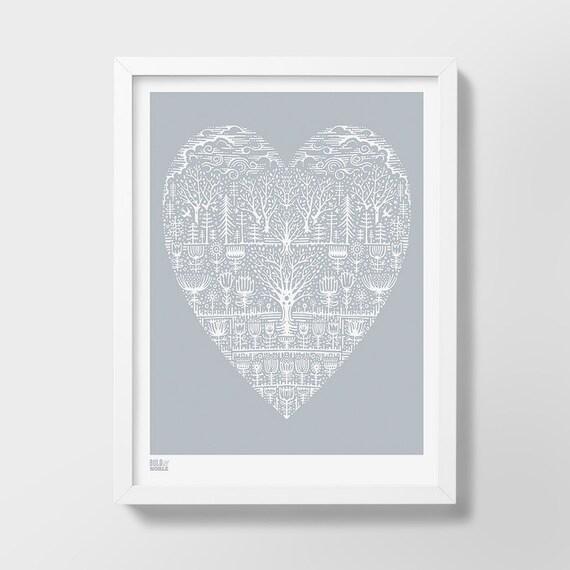 Wild Wood Screen Print, Nature Wall Art, Heart Screen Print, Illustrated Heart Print, Nature Illustrated Wall Art, Love Screen Print