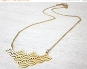 Sale 20% OFF Short Mizu Necklace in Gold, wave pendant jewelry