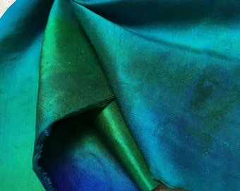 Hand Dyed Sheer Silk Satin Dupion in Atlantis Colour way 14 inches x 10 inches