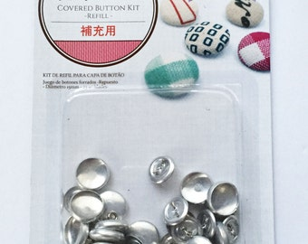 Aluminum / Stainless Steel Self Cover Buttons - Makes 25 Fabric Covered Buttons - Blank Button Shell & Shank / Wire Back - 0.59 inch / 15mm
