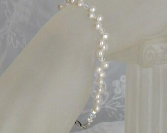 Sterling Silver Swarovski Freshwater Pearl Bracelet/Bridal/Wedding/Bridesmaids/Flower Girl/Gift