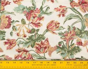 Vintage Decorator Fabric Cotton, White background Flowers, Leaves, Buds stems and leaves 2 yds 54 inches wide, sold as one piece