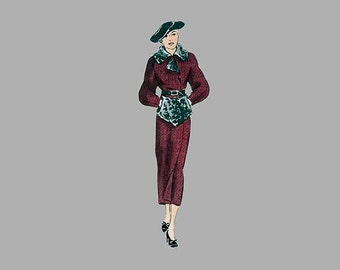 Rare 1930s Coat and Muff pattern, Vogue 6775 Assymetrical closure, Lined coat, Raglan sleeved, darts at wrist, Purse muff, Bust 32 Size 14