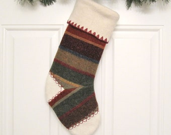 Woodland Striped Knit Customized Christmas Stocking Personalized Holiday Decoration Handcrafted from Felted Wool Sweater no702
