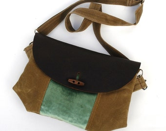 Oiled Leather & Waxed Canvas Purse / Seafoam Green Velvet Recycled Tapestry READY TO SHIP