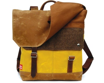 Waxed Canvas Backpack / Bark Brown Herringbone Wool & Yellow Waxed Canvas with Minimalist Leather Closure