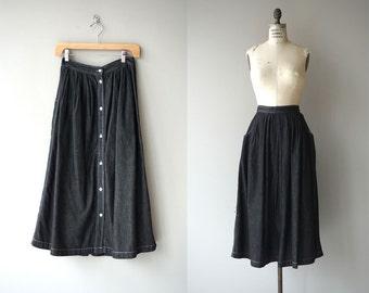 Calvin Klein chambray skirt   vintage chambray skirt   button back 80s midi skirt