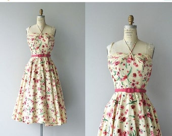 25% OFF.... Mascotte dress | vintage 1950s dress | floral 50s halter dress by Claudia Young