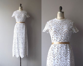 High Baroque wedding gown | vintage 1960s lace wedding dress | cutout lace 60s wedding dress