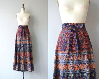 Mehndi indian wrap skirt | vintage 1970s skirt | 70s indian cotton wrap skirt