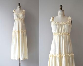 Vanilla Milk gauze ress | vintage 1970s dress | cream gauze 70s maxi dress