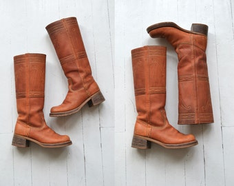 Campus Boots | vintage 1970s campus boots | tall leather 70s boots