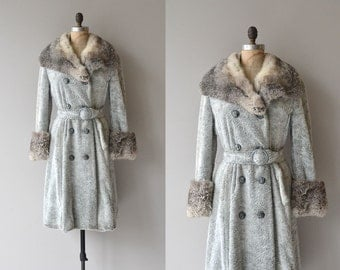 Britannia coat | vintage 1970s rabbit coat | rabbit fur belted 70s coat