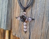 Pink and Black Wire Cross Necklace
