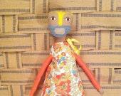 "Handmade Soft Cloth Doll ""Sol"", Multicultural Doll, Mixed Media Cloth Doll"