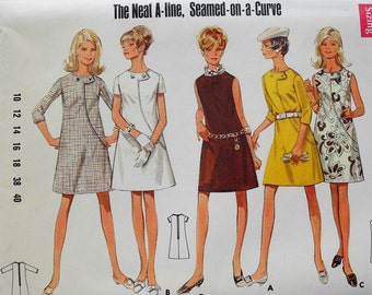 Vintage Butterick 4818 sewing pattern, 1960s one piece dress, A-line, uncut, Bust 32 and a half