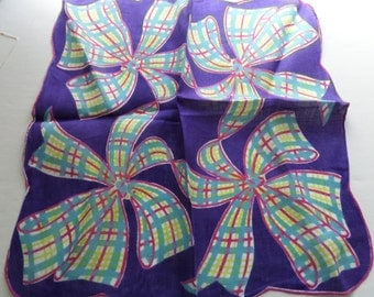 Vintage Hankie - Plaid Bows Purple