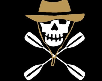 Texas River Pirates Kayak Skull Vinyl Decal Sticker