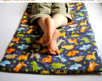 SALE Toddler Nap Mat- Boys Preschool Napmat in Dinosaurs- Non Toxic Kids Bedding with Organic Denim