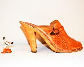 Vintage Shoes Hand Tooled Wood Heel