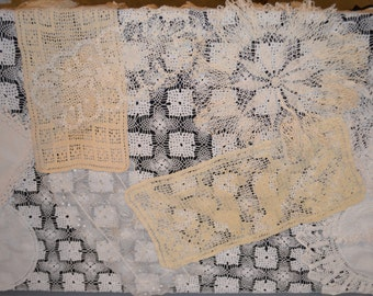 Natural and White Antique Doily Collection......Ten