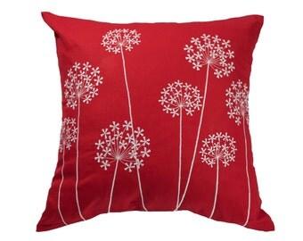 Queen Ann Pillow Cover, Red Linen White Queen Ann Embroidery, Floral Pillow Case, Flower Cushion, Decorative Throw Pillow, Modern Decor