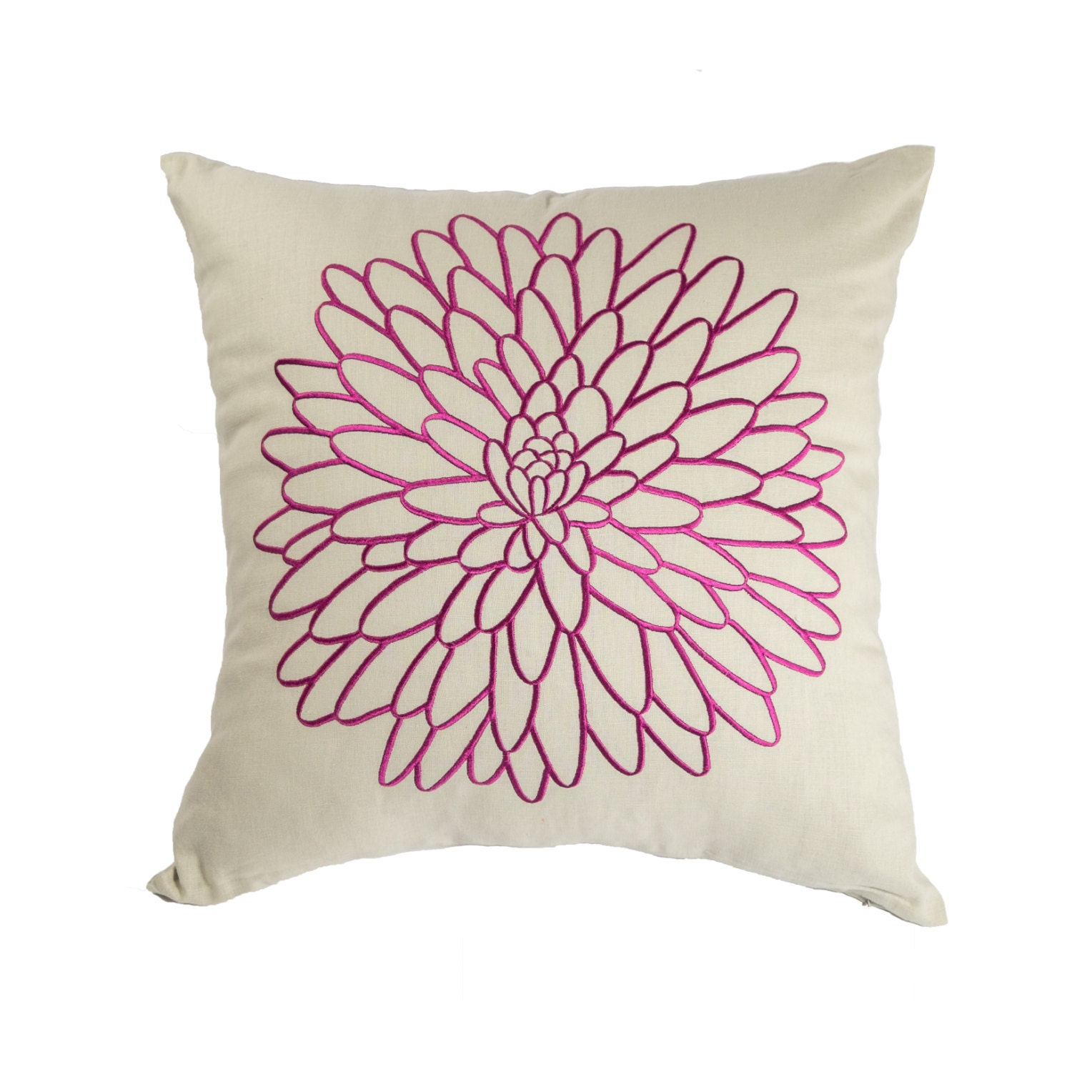 Decorative Pillows Flowers : Purple Floral Throw Pillow Cover Embroidered Pillow Oatmeal