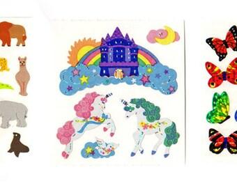3 Vintage Retro Sandylion Sticker Mods Unicorns Zoo Animals Butterflies