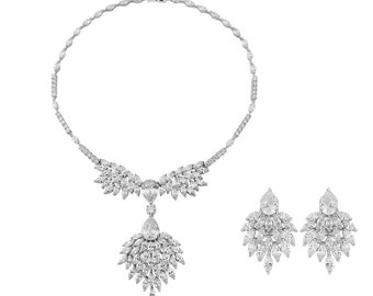 Crystal bridal jewellery set bridal wedding teardrop silver jewellery set pendant necklace drop earrings vintage style bridal necklace