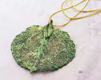 Real Leaf Jewelry, Colorado Aspen Leaf, forest GREEN patina, necklace pendant by Natures Leaves