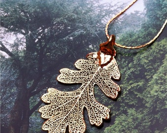 Real Leaf Jewelry,  Oak Leaf, 24K dipped gold  leaves necklace pendant necklace, with choice of chains