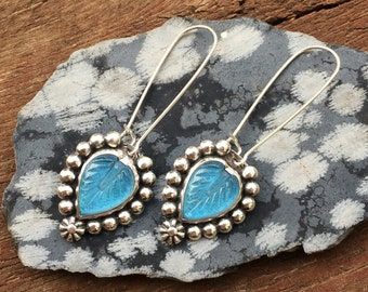 Blue falling leaf earrings, embellished sterling silver leaf dangle earrings